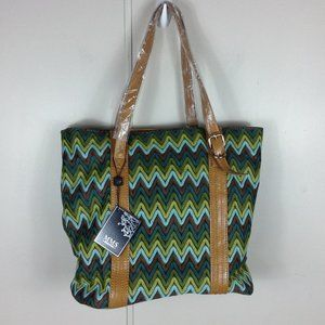 MMS Design Studio Green Chevron Lace Tote Handbag